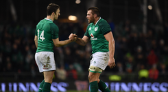 18 November 2017; Darren Sweetnam, left, celebrates with CJ Stander of Ireland following the Guinness Series International match between Ireland and Fiji at the Aviva Stadium in Dublin. Photo by Sam Barnes/Sportsfile