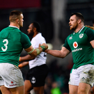 18 November 2017; Andrew Porter, left, and Cian Healy of Ireland celebrate following the Guinness Series International match between Ireland and Fiji at the Aviva Stadium in Dublin. Photo by Sam Barnes/Sportsfile