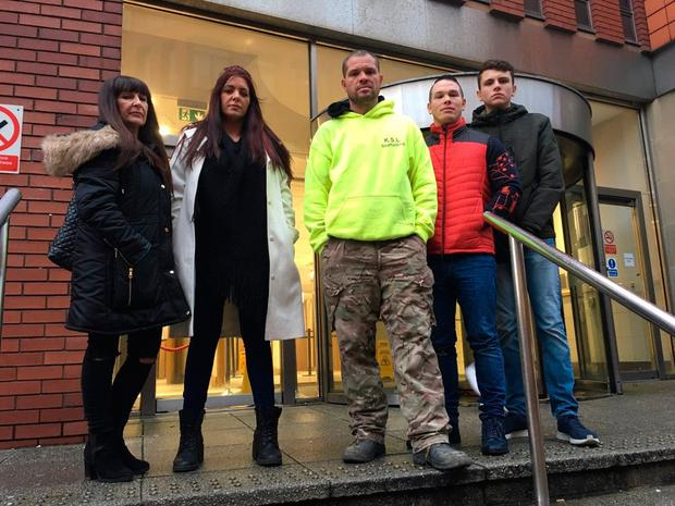 Members of Predator Exposure group. Left to right Sarah, Lara, Phil, John and J. The group asked that their surnames be withheld.