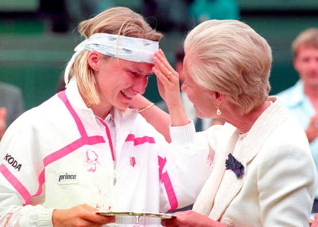 Jana Novotna is comforted by The Duchess of Kent after losing to defending champion Steffi Graf in the 1993 women's final at Wimbledon. Photo: PA Wire