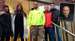 Members of the Predator Exposure group pictured in Leeds. On Monday Leeds Magistrate Court heard that Kieran Creaven (55) (inset) had been approached by a group who had set up a fictitious online account.