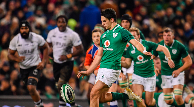 18 November 2017; Joey Carbery of Ireland during the Guinness Series International match between Ireland and Fiji at the Aviva Stadium in Dublin. Photo by Sam Barnes/Sportsfile