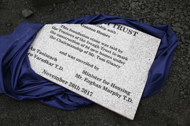 The broken foundation stone at the unveiling of 84 new social homes in Clongriffin. Photo: Sam Boal/RollingNews.ie