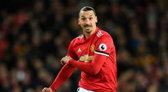 Zlatan Ibrahimovic returned to Manchester United action on Saturday less than seven months after suffering a career-threatening knee injury. Photo: Oli Scarff/AFP