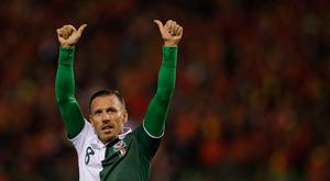 Craig Bellamy of Wales thanks the fans after the FIFA 2014 World Cup Qualifying Group A match between Belgium and Wales at King Baudouin Stadium on October 15, 2013 in Brussels, Belgium. (Photo by Dean Mouhtaropoulos/Getty Images)