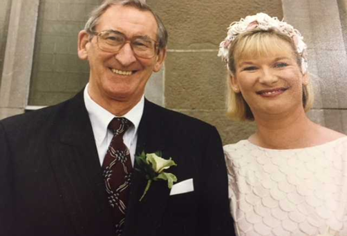 RTE newsreader Eileen Dunne with her late father Mick Dunne on her wedding day.