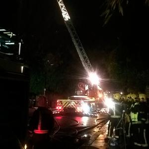 Handout photo from the London Fire Brigade of crews tackling a fire on Daleham Gardens, Hampstead, on Tuesday.