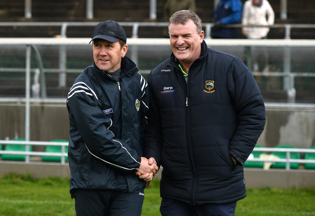 Kerry u21 manager Jack O'Connor, left, and Tipperary manager Liam Kearns exchange a handshake after the McGrath Cup Round 1 match between Kerry and Tipperary at Austin Stack Park in Tralee, Co. Kerry. Photo by Diarmuid Greene/Sportsfile