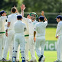 Andrew Balbirnie of Ireland, centre, is congratulated by team mates after catching out Max O'Dowd of Netherlands during the ICC Intercontinental Cup match between Ireland and Netherlands at Malahide in Co Dublin. Photo by Sam Barnes/Sportsfile