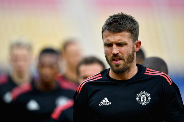 Michael Carrick of Manchester United trains during a training session ahead of the UEFA Super Cup final between Real Madrid and Manchester United on August 7, 2017 in Skopje, Macedonia. (Photo by Dan Mullan/Getty Images)