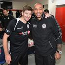 Steven Gerrard poses for a photo with Thierry Henry during the Liverpool All Star Charity Match at Anfield on March 29, 2015 in Liverpool, England. (Photo by Andrew Powell/Liverpool FC via Getty Images)