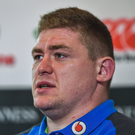 Tadhg Furlong speaking during an Ireland rugby press conference at Carton House in Maynooth, Kildare. Photo by Seb Daly/Sportsfile