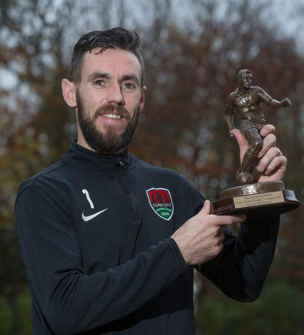 Cork City's Mark McNulty with his SSE Airtricity/SWAI Player of the Month Award