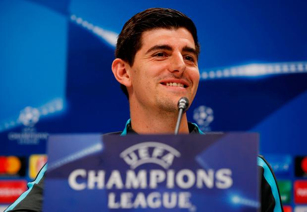 Chelsea's Thibaut Courtois during a press conference ahead of tonight's match yesterday. Photo: Peter Cziborra/Reuters