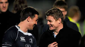 16 April 2011; Eoin O'Malley, left, and Brian O'Driscoll, Leinster, after the game. Celtic League, Leinster v Ulster, RDS, Ballsbridge, Dublin. Picture credit: Stephen McCarthy / SPORTSFILE