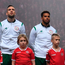 Ireland's Cyrus Christie (centre), with Shane Duffy and Jeff Hendrick, during the national anthem. Photo: Stephen McCarthy/Sportsfile