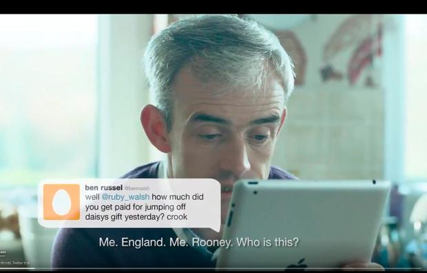 Ruby Walsh in a television advert which depicted him confronting a 'troll'