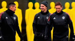 Chris Smalling, Zlatan Ibrahimovic and Nemanja Matic in relaxed mood during a training session yesterday. Photo: Paul Ellis/Getty Images