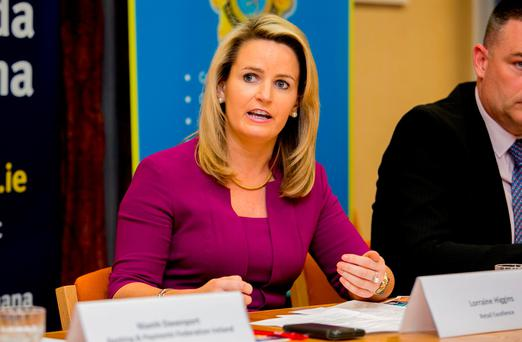 Lorraine Higgins of Retail Excellence speaking during a 'Safe Online Shopping' campaign press briefing yesterday. Photo: Gareth Chaney