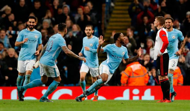 Soccer Football - Champions League - Manchester City vs Feyenoord - Etihad Stadium, Manchester, Britain - November 21, 2017 Manchester City's Raheem Sterling celebrates scoring their first goal with teammates Action Images via Reuters/Carl Recine