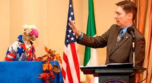US Charge d'Affaires Reece Smyth pardons Dustin the Turkey at a Thanksgiving reception at the US ambassador's residence in the Phoenix Park. Photo: Gerry Mooney