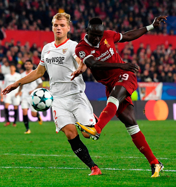 Liverpool's Sadio Mane shoots during the Champions League match against Sevilla. Photo: David Ramos/Getty Images
