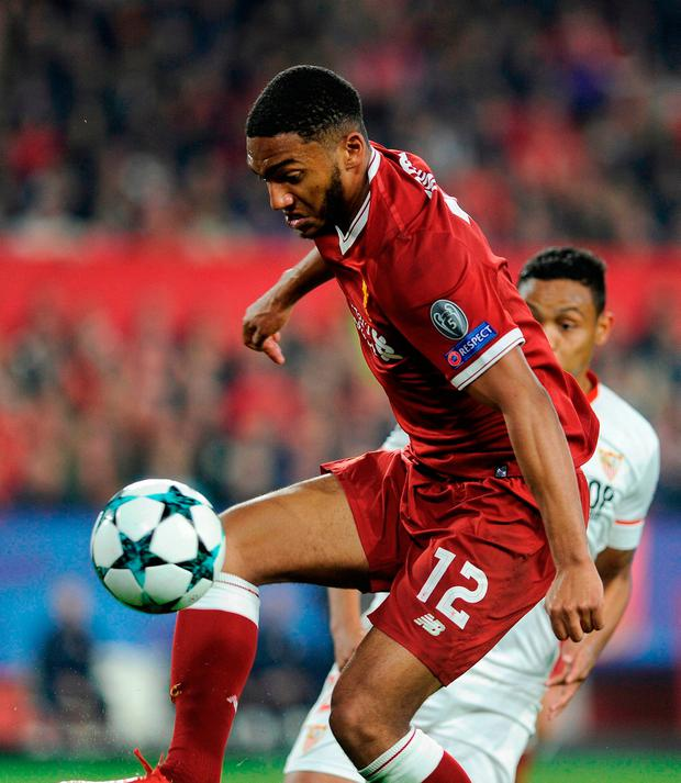 Liverpool's English defender Joe Gomez controls the ball during the match against Sevilla. Photo: Getty Images