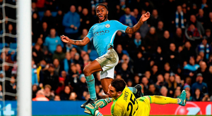 Manchester City's Raheem Sterling scores his sides last-gasp winner against Feyenoord. Photo: Laurence Griffiths/Getty Images