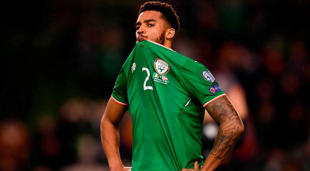 Cyrus Christie is dejected after the recent defeat at the hands of Denmark. Photo: Stephen McCarthy/Sportsfile