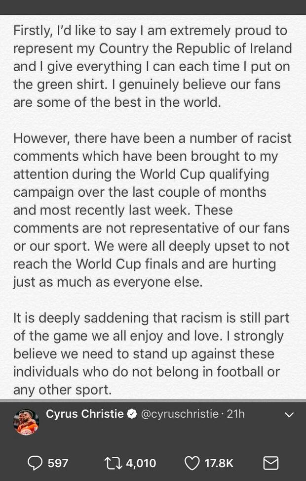 Cyrus Christie's statement on the abuse he got.