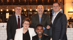 Pictured at the launch of OUTstanding Ireland are (standing, from left): Stuart Barette, #1 LGBT future leader and Global CMB IT Programme Manager, HSBC, Patric Schaffer, IBM and Martin Shanahan, CEO, IDA. Seated: Margot Slattery, country president, Sodexo and Suki Sandhu, OUTstanding founder & CEO.