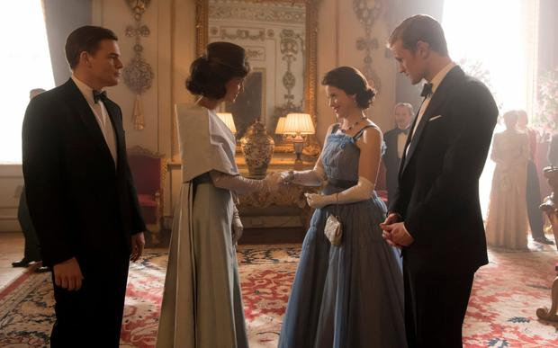 Michael C Hall as John F Kennedy, Jodi Balfour as Jackie Kennedy, Claire Foy as the Queen and Matt Smith as the Duke of Edinburgh Credit: Alex Bailey/Netflix