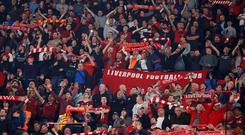 Liverpool fans before the match. Photo: Reuters