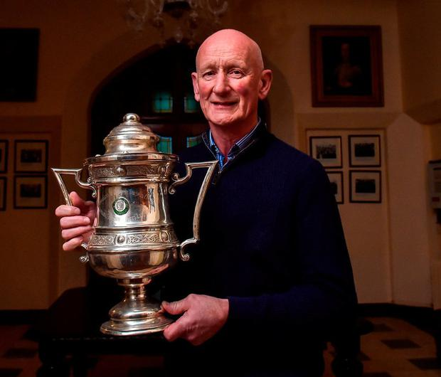 Kilkenny manager Brian Cody with the Corn Ui Dhuill Cup that he won as captain of St Kieran's College in 1971 at yesterday's launch of the Top Oil Leinster Schools. Photo by Matt Browne/Sportsfile