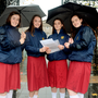 Students from Loreto College, St Stephen's Green, Ellen McKimm (15), Adrianne Ward (16), Faye Dolan (16), and Tara O'Sullivan (15) at Leinster House Photo: Caroline Quinn