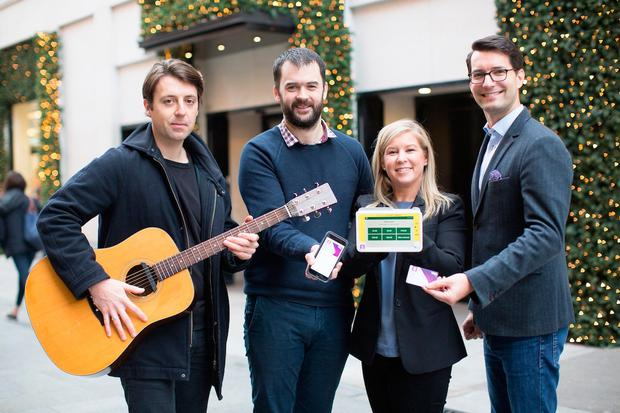 At the launch of the Simon Community initiative were musician Ivan Nicolas, John Sansome of Dublin Simon Community, Carol Meehan, Head of Proposition Design, AIB Group Marketing, and Philip Konopik, Country Manager Ireland of Visa Europe. Photo: Photoshelter