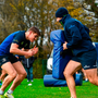 Garry Ringrose and Elite Player Development Officer Hugh Hogan during Leinster rugby squad training