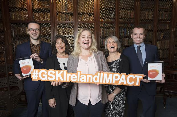 Pictured at the GSK Ireland IMPACT Awards 2017 are: (l-r) Martin Davoren (Sexual Health Centre), Sharon Dagg (Down Syndrome Centre), Petal Pilley (Blue Teapot Theatre Company), Anne Lawlor (22Q11 Support Group Ireland) and Barry Sheridan (Irish Mens Sheds Association)
