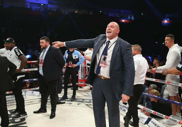 Tyson Fury rants at a member of the British Boxing Board of Control after the WBO World Heavyweight Title fight between Joseph Parker and Hughie Fury at Manchester Arena on September 23, 2017 in Manchester, England. (Photo by Alex Livesey/Getty Images)