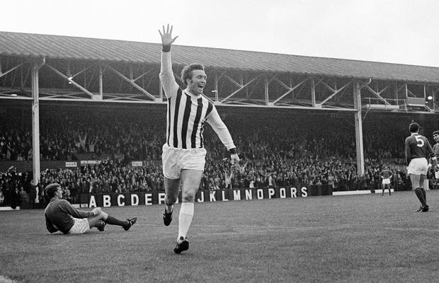 Jeff Astle celebrates after scoring for West Bromwich Albion against Manchester United during their First Division match at the Hawthorns in West Bromwich, 14th August 1968. (Photo by Gerry Armes/Birmingham Mail/Popperfoto/Getty Images)