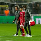 Thiago of FC Bayern Munchen injured during the UEFA Champions League match between Anderlecht v Bayern Munchen at the Constant Vanden Stock Stadium on November 22, 2017 in Brussel Belgium. (Photo by TF-Images/TF-Images via Getty Images)
