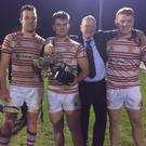 Nenagh Ormond's club president Ger O'Gorman with his three sons Kevin, Ger and Niall who all played a part in their historic triumph Nenagh Ormond RFC