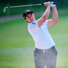Paul Dunne hits a shot from a bunker during round one of the Hong Kong Open. Photo: Getty Images
