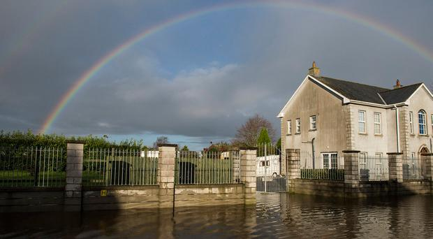 Flooding in Mountmellick, Co Laois, has caused hardship for businesses and residents Photo: Kevin Byrne