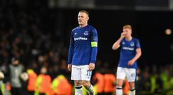 Wayne Rooney of Everton shows dissapointment at the final whistle during the UEFA Europa League group E match between Everton FC and Atalanta at Goodison Park on November 23, 2017 in Liverpool, United Kingdom. (Photo by Gareth Copley/Getty Images)