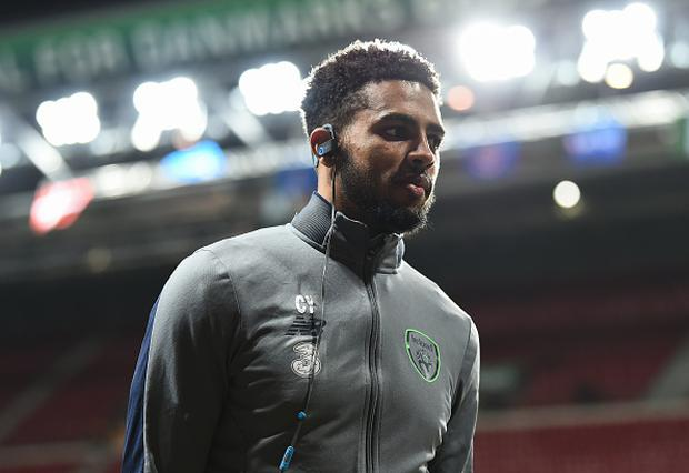 Cyrus Christie of Republic of Ireland prior to the FIFA 2018 World Cup Qualifier Play-off 1st Leg match between Denmark and Republic of Ireland at Parken Stadium in Copenhagen, Denmark. (Photo By Stephen McCarthy/Sportsfile via Getty Images)