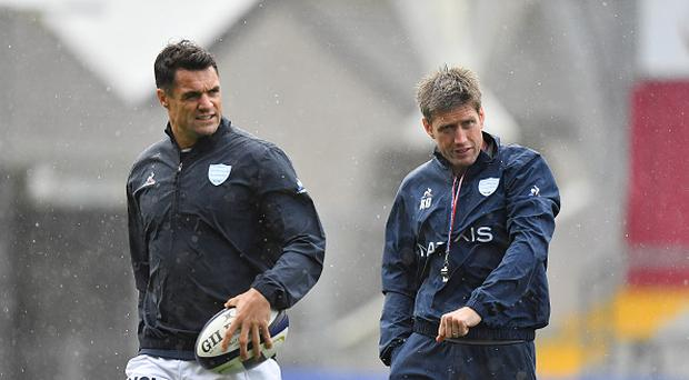 Dan Carter of Racing 92, left, and Racing 92 defence coach Ronan O'Gara prior to the European Rugby Champions Cup Pool 4 Round 2 match between Munster and Racing 92 at Thomond Park in Limerick. (Photo By Brendan Moran/Sportsfile via Getty Images)
