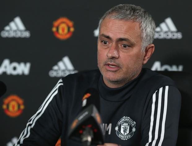 Manager Jose Mourinho speaks during a press conference at Aon Training Complex in Manchester (Photo by Matthew Peters/Man Utd via Getty Images)