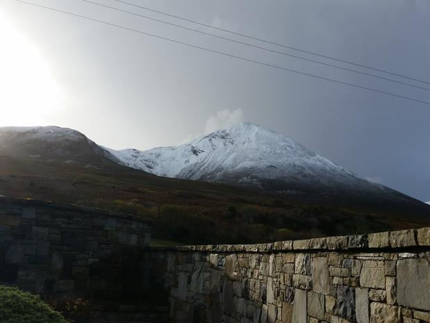 Croagh Patrick this morning Photo: @JustStickers1 Twitter