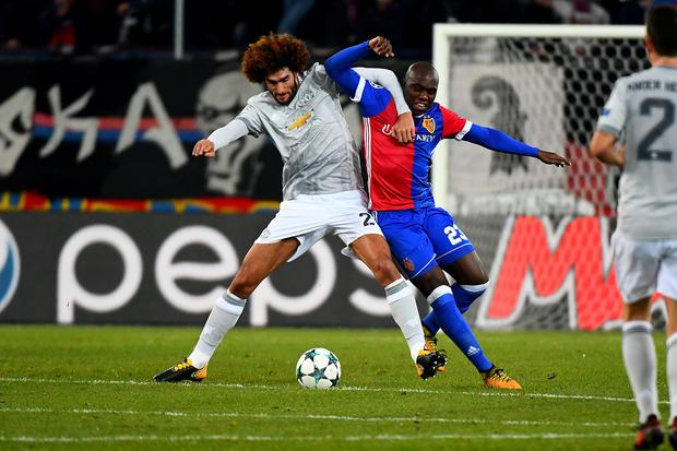 22nd November 2017, St Jakob-Park, Basel, Switzerland; UEFA Champions League, FC Basel versus Manchester United; Marouane Fellaini of Manchester United challenges Eder Balanta of FC Basel for the ball (Photo by David Emm/Action Plus via Getty Images)